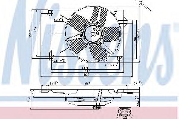 Вентилятор, охлаждение двигателя NISSENS арт. 85005