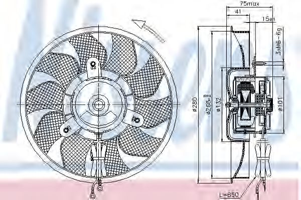 Вентилятор, охлаждение двигателя NISSENS арт. 85548