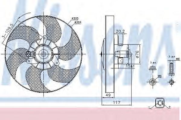 Вентилятор, охлаждение двигателя NISSENS арт. 85658