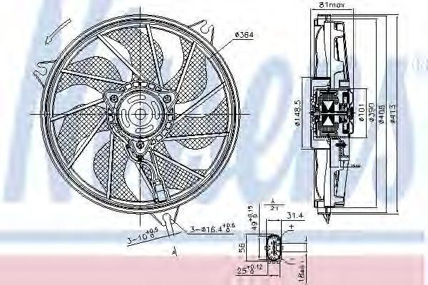Вентилятор, охлаждение двигателя NISSENS арт. 85662