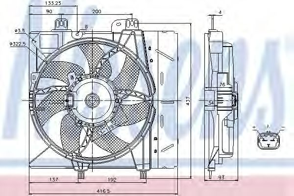 Вентилятор, охлаждение двигателя NISSENS арт. 85670
