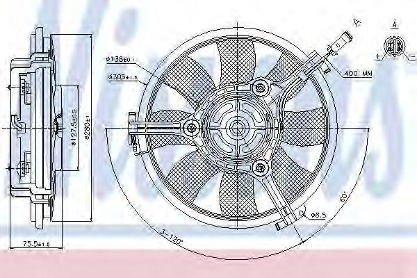 Вентилятор, охлаждение двигателя NISSENS арт. 85691