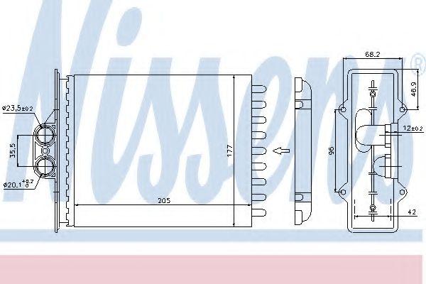 Теплообменник, отопление салона NISSENS арт. 72657
