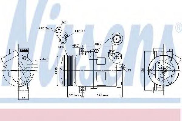 Оборудование для СТО Компрессор, кондиционер NISSENS арт. 89307