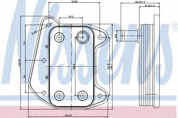 масляный радиатор, двигательное масло NISSENS арт.