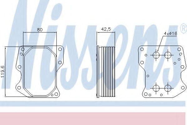 масляный радиатор, двигательное масло NISSENS арт. 90752