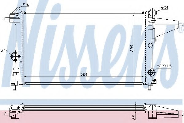 Радиатор, охлаждение двигателя NISSENS арт. 632231