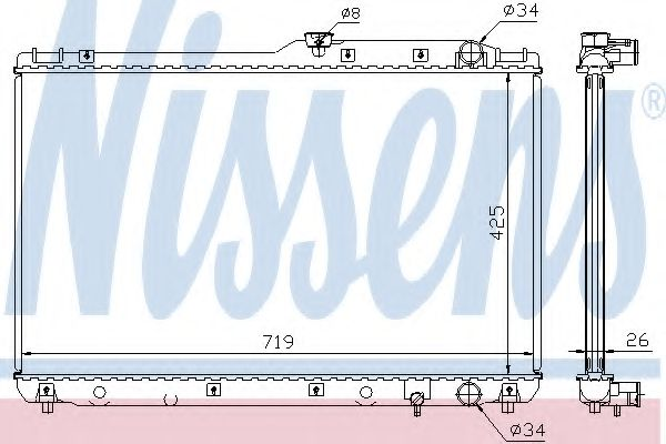 Радиатор, охлаждение двигателя NISSENS арт. 64771A