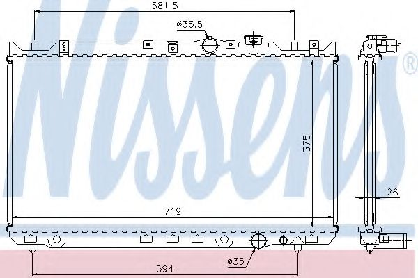 Радіатор охолоджування Nissens 62482A