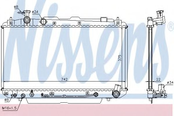 Радиатор, охлаждение двигателя Nissens - 64644A