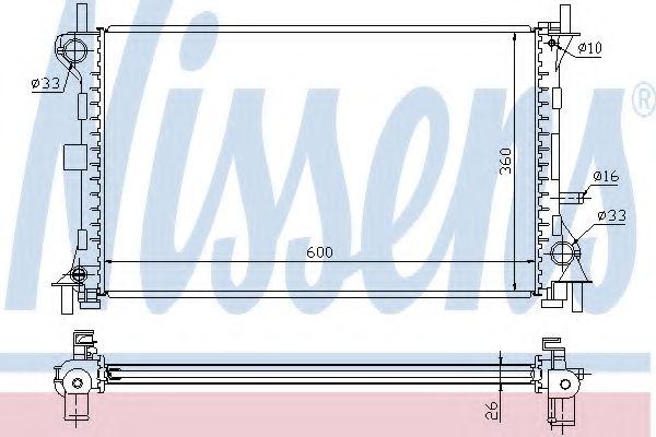 Радиатор, охлаждение двигателя NISSENS арт. 62052