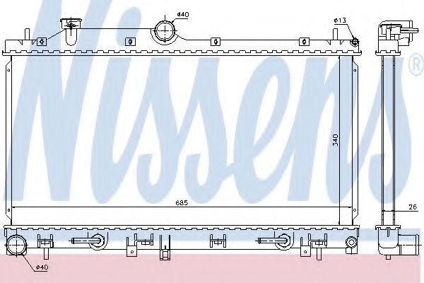Радиатор, охлаждение двигателя NISSENS арт. 66676