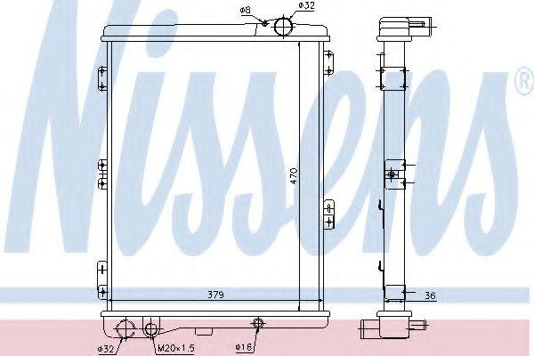 Радиатор, охлаждение двигателя NISSENS арт. 604411