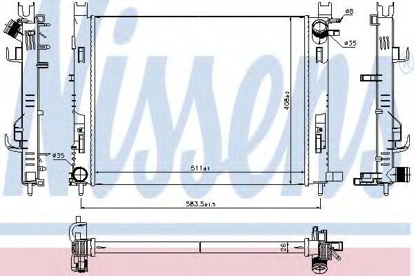 Радиатор, охлаждение двигателя NISSENS арт. 637624