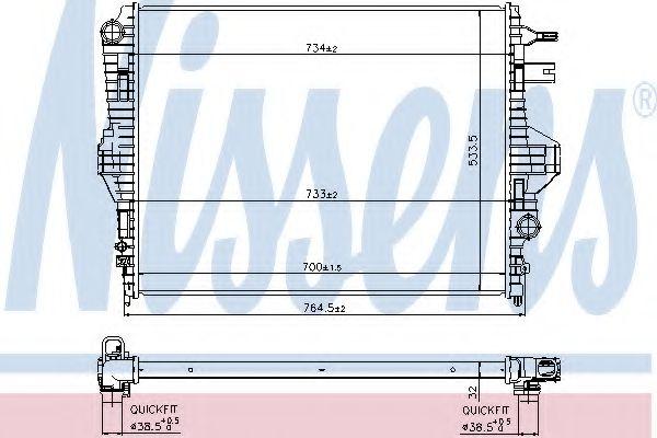 Радиатор, охлаждение двигателя NISSENS арт. 65297