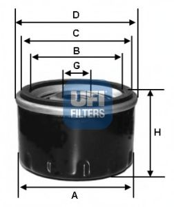 Фильтры масляные Масляный фильтр UFI арт.