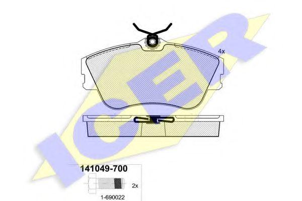 Комплект тормозных колодок, дисковый тормоз ICER арт. 141049700