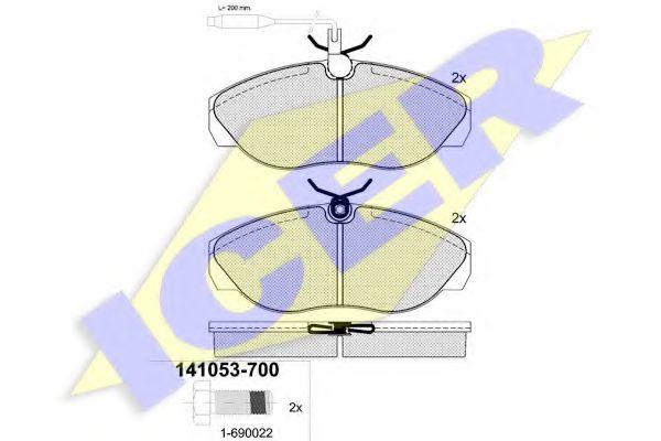 Комплект тормозных колодок, дисковый тормоз ICER арт. 141053700