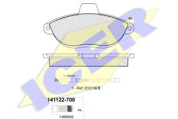 Комплект тормозных колодок, дисковый тормоз ICER арт. 141122700