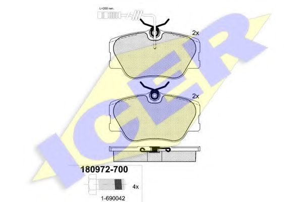 Комплект тормозных колодок, дисковый тормоз ICER арт. 180972700