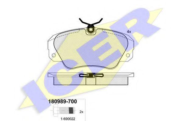 Комплект тормозных колодок, дисковый тормоз ICER арт. 180989700