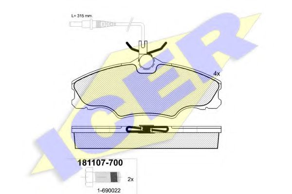 Комплект тормозных колодок, дисковый тормоз ICER арт.