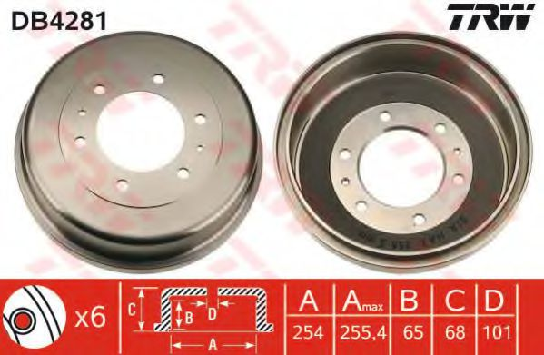 Тормозной барабан TRW арт. DB4281