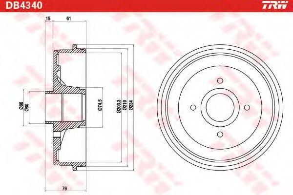 Тормозной барабан TRW арт. DB4340