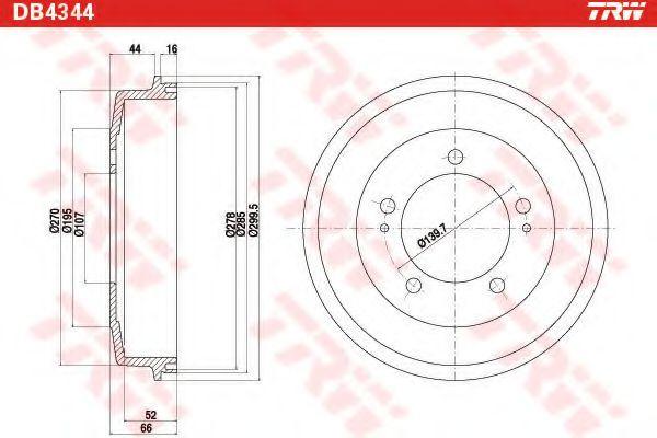 Тормозной барабан TRW арт. DB4344