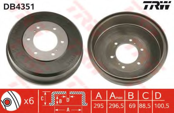 Тормозной барабан TRW арт. DB4351