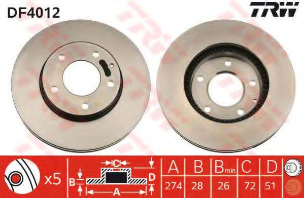 Тормозной диск TRW арт. DF4012