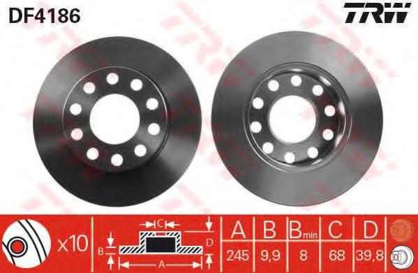 Тормозной диск TRW арт. DF4186