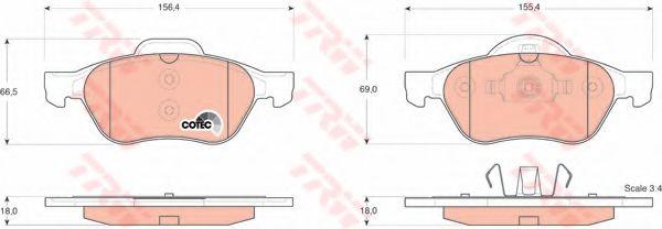 Комплект тормозных колодок, дисковый тормоз TRW арт. GDB1540