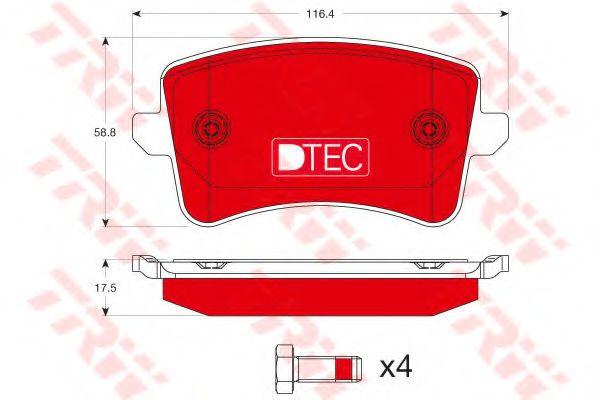 Комплект тормозных колодок, дисковый тормоз TRW арт.