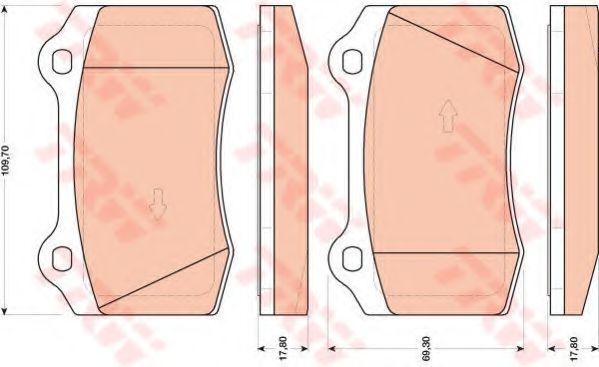 Комплект тормозных колодок, дисковый тормоз TRW арт. GDB1772