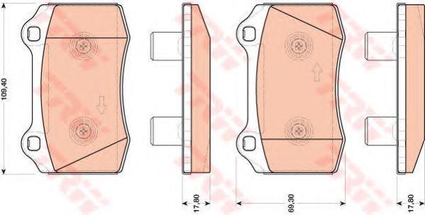 Комплект тормозных колодок, дисковый тормоз TRW арт. GDB1773