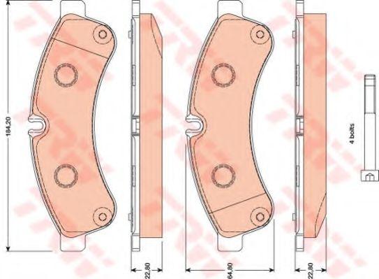 Комплект тормозных колодок, дисковый тормоз TRW арт. GDB1780