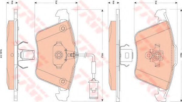 Комплект тормозных колодок, дисковый тормоз TRW арт. GDB1832