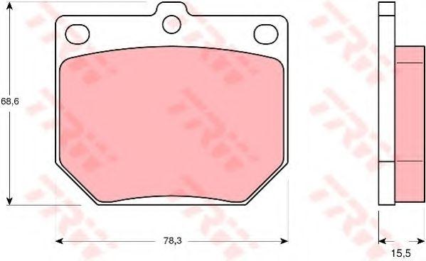 Комплект тормозных колодок, дисковый тормоз TRW арт. GDB232