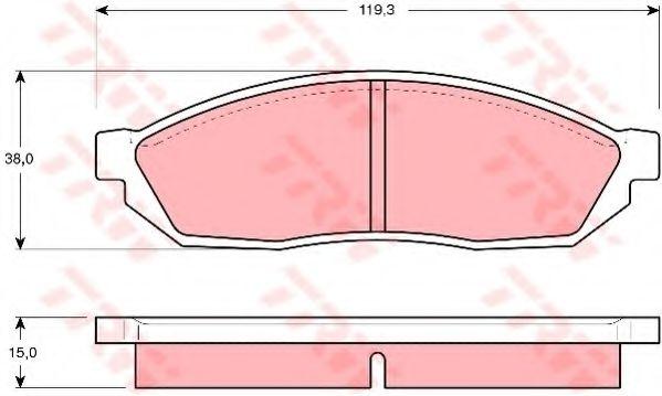 Комплект тормозных колодок, дисковый тормоз TRW арт. GDB254