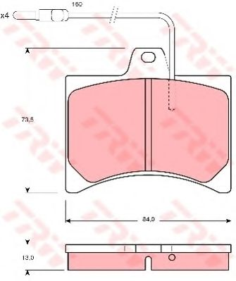 Комплект тормозных колодок, дисковый тормоз TRW арт. GDB276