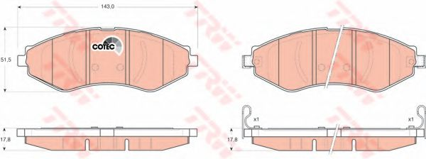 Тормозные колодки Лачетти/Нубира передние TRW TRW арт.