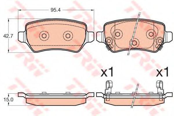 Комплект тормозных колодок, дисковый тормоз TRW арт. GDB3585