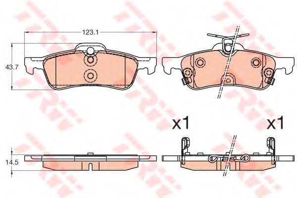 Комплект тормозных колодок, дисковый тормоз TRW арт. GDB3588