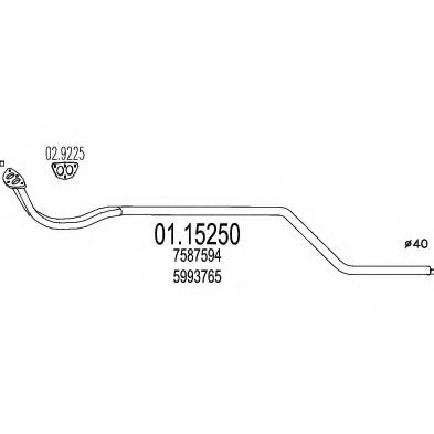 Труба выхлопного газа MTS арт. 0115250