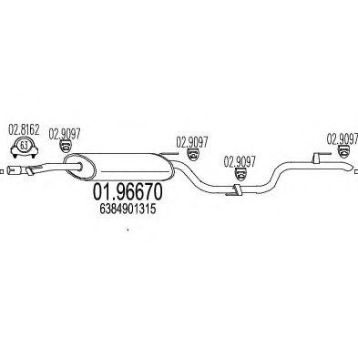 Глушитель выхлопных газов конечный MTS арт. 0196670