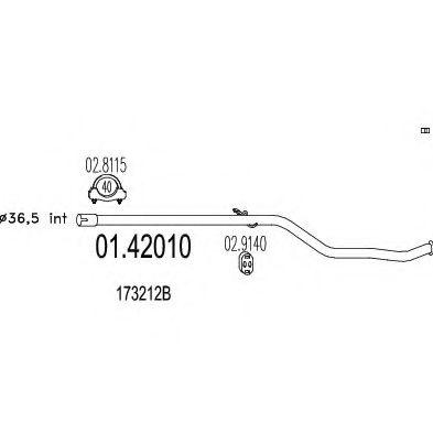 Труба выхлопного газа MTS арт. 0142010