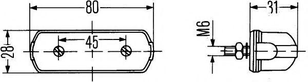 Фонарь освещения номерного знака HELLA арт. 2KA001389101