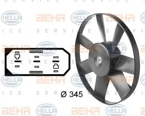 Вентилятор, охлаждение двигателя HELLA арт.