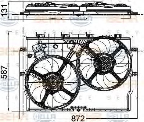 Вентилятор, охлаждение двигателя HELLA арт. 8EW351041431